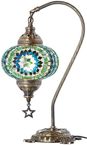 (33 Colors) DEMMEX 2019 Turkish Moroccan Mosaic Table Lamp with US Plug & Socket, Swan Neck Handmade Desk Bedside Table Night Lamp Decorative Tiffany Lamp Light, Antique Color Body (3)