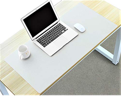 Desk Mat Pad Blotter Mat Office Writing Table Protector on Top of Desks for Laptop Computer Desktop Cover Keyboard Mousepad Pads for Women Kids Girls PU Leather White 24 x 48 Inch Extra Large Oversize