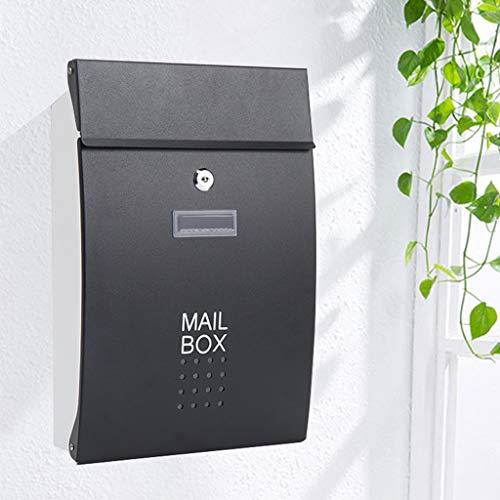 ZhuFengshop brievenbus muur gemonteerde brievenbak, afsluitbaar buitenijzeren brievenbak, weerbestendig roestvrij staal brievenbus appartement, tuin