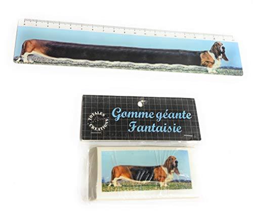 Totales Créations-Juego de una regla de plástico flexible de 20 cm de perro de raza Basset Hound+ una goma gigante de 8,5 cm de perro de raza Basset Hound