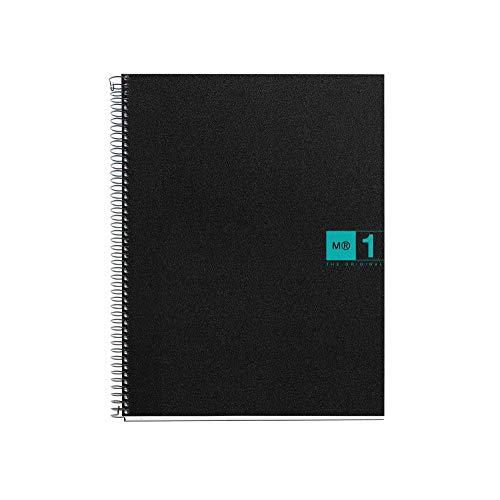 Miquelrius - Cuaderno A5, 80 hojas (franja de un color), cuadrícula 5 mm, tapa de polipropileno color negro/turquesa