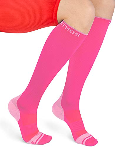Sparthos Compression Socks (20-30mmHg) - Knee High Sock for Sport, Running, Travel, Medical Support, Pregnancy, Nursing - Calf Long Athletic Compressions Gear Sleeve - for Men and Women (Pink-XXL)