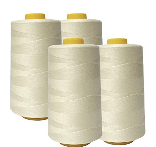 AK Trading 4-Pack Ivory All Purpose Sewing Thread Cones (6000 Yards Each) of High Tensile Polyester Thread Spools for Sewing, Serger Machines, Quilting, Overlock, Merrow and Hand Embroidery