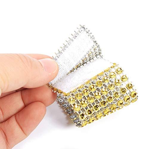 Lazmin 50/100 Piezas servilletero Anillo 8 Diamantes de imitación Fila como servilleta servilleta Banda Hotel Boda Decoraciones para Banquetes(50 Piezas de Oro)
