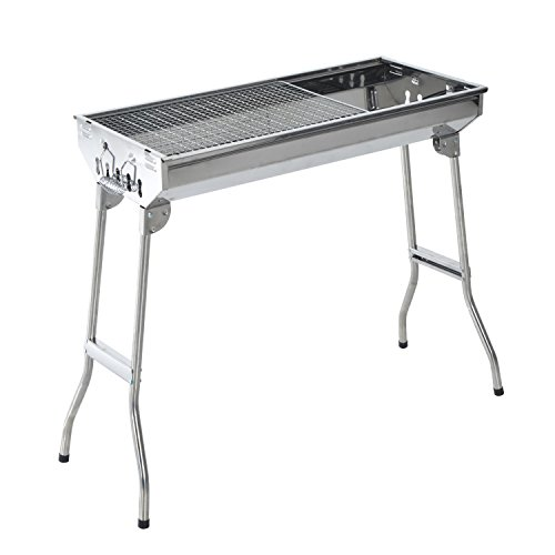 "Outsunny 28"" Stainless Steel Small Portable Folding Charcoal BBQ Grill Set"