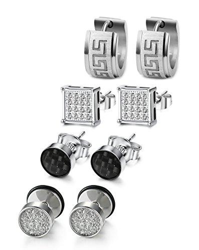 Milacolato 4 Pairs Stainless Steel CZ Stud Earrings for Men Women Hoop...