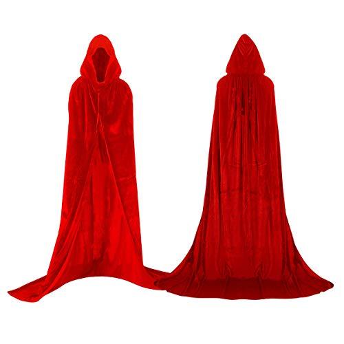 shafier Largo Capa Vampiro Diablo con Capucha Terciopelo Disfraz de Halloween para Mujeres Hombres Carnaval Fiesta Disfraces Talla Unica (Rojo)