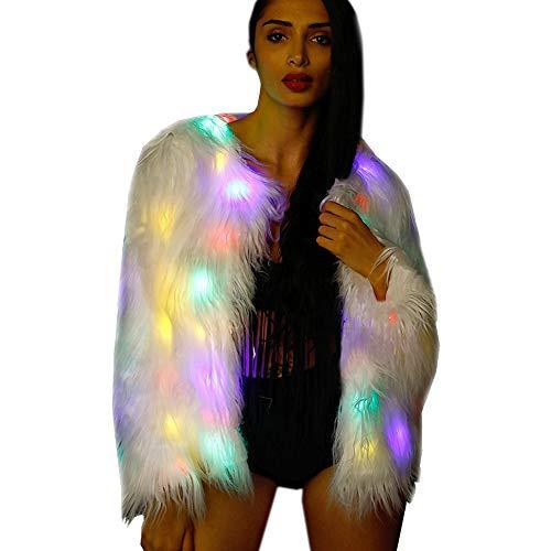 M Mayever Weibliche LED leuchten Outwear Warm Flauschige Faux Lange Pelz Mantel Frauen Jacke Mädchen Weihnachten Kostüm M