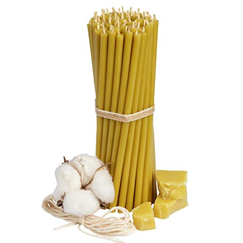 Diveevo Candele di cera d'api Kirchliche Nr. 140 – Ambra 25 pezzi, candele rituali di alta qualità, lunghezza: 16 cm, diametro: 5,0 mm, 30 min, durata di combustione in giallo miele, 70 g, senza gocce e fumo