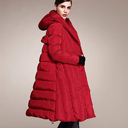 Chaqueta De Plumas para Mujer,Abrigo Acolchado De Parka De Invierno para Mujer con Vestido Rojo...