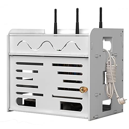 MGCtech Soporte de Rack de enrutador de 3 Capas Estante de Pared Flotante Rack de Almacenamiento de enrutador WiFi de Madera Maciza Caja de Almacenamiento de Adornos de Escritorio