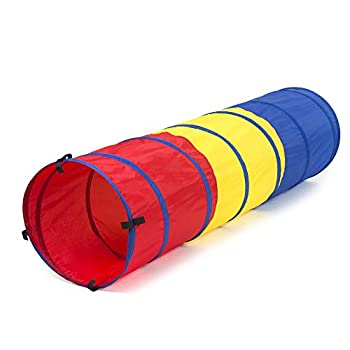 FoxPrint Pop Up Kid's Play Tunnel for Toddlers Indoor and Outdoor Standalone or Tent Attachment Accessory Lightweight and Portable for Park or Backyard Fun Girls and Boys