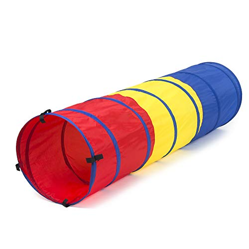 FoxPrint Pop Up Kid's Play Tunnel for Toddlers Indoor and Outdoor, Standalone or Tent Attachment Accessory, Lightweight and Portable for Park or Backyard Fun, Girls and Boys