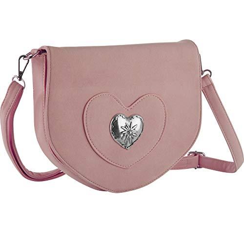 dressforfun 900650 Damen Trachten Handtasche mit Herz Motiv, Schicke Trachtenhandtasche in Wildlederoptik (Rosa | Nr. 303263)