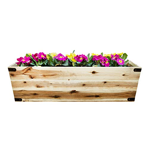 Thirteen Chefs Villa Acacia Wooden 31 Inch Long Box Planter for Indoor or Outdoor Use, Patios, Decks, Gardens 31 x 10 x 9 Inches