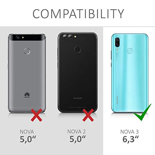 kwmobile Huawei Nova 3 Hülle - Kunstleder Wallet Case für Huawei Nova 3 mit Kartenfächern und Stand - Grau Schwarz - 6