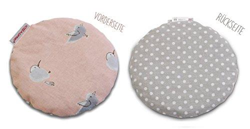 HOBEA-Germany Kirschkernkissen Wärmekissen Körnerkissen für Babys rund in verschiedenen Designs, Modell:Vögel/Punkte