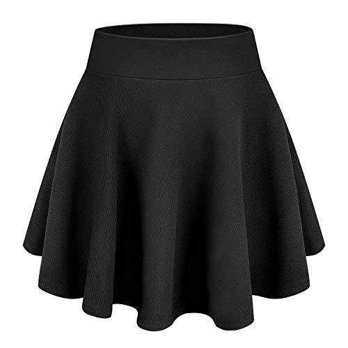 Tuopuda Falda Mini Skater Casual versátil elástica Acampanada versátil básica Falda Escolar Plisada Falda tutú para Mujeres niñas, Negro, M
