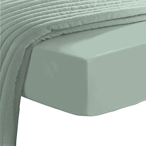Pizuna Baumwoll-Spannbettlaken mit Fadenzahl 400 Salbei 150x200, 100 prozent langstapeliges Baumwoll-Spannbettlaken, Mako-Satin-Gewebe-Bettlaken perfekt für Matratzengrößen 135x200cm, 140x200cm und 145x200cm