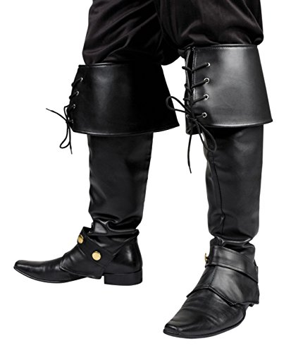 Boland 81995 - Stiefelstulpen Ryder für Erwachsene, schwarz, mit Schnürrungen, Musketier, Pirat, Ritter, Motto Party, Karneval