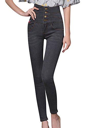 Kasen Pantalones Mujer Vaqueros de Mujer Push up Levanta Cola Pantalones Vaqueros Elásticos Gris 3XL