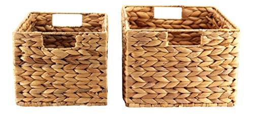 Decorasian Cesta trenzada de jacinto de agua, rectangular, juego de 2 unidades