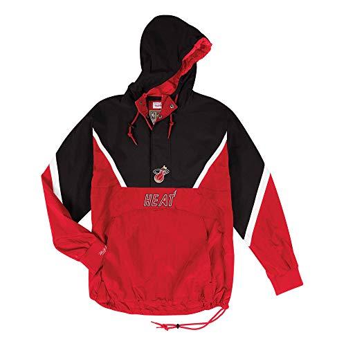 Mitchell & Ness NBA Miami Heat - Giacca da uomo con mezza zip, rosso nero, XL