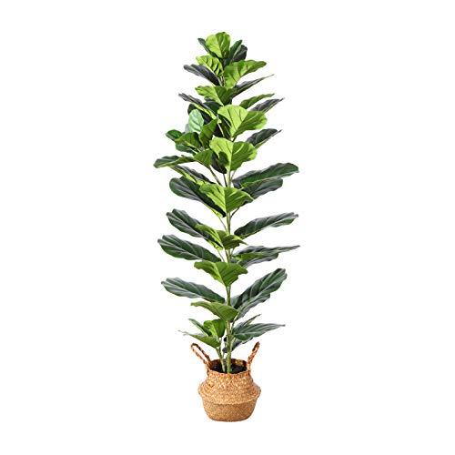 Ferrgoal Plantas Artificiales Grande Higuera Hoja de Violín Tropical Palmera Artificial Altura 145cm para Hogar Baño Jardín Boda Partido Planta Falsa Decoración,incluir Cesta Mimbre(1PACK)