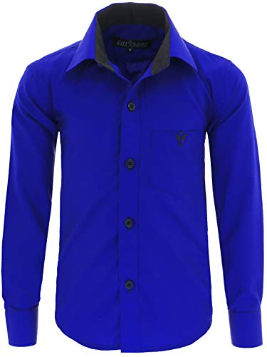 GILLSONZ A7vDa Kinder Party Hemd Freizeit Hemd bügelleicht Lange Arm mit 10 Farben Gr.86Bis158 (128/134, Blau)