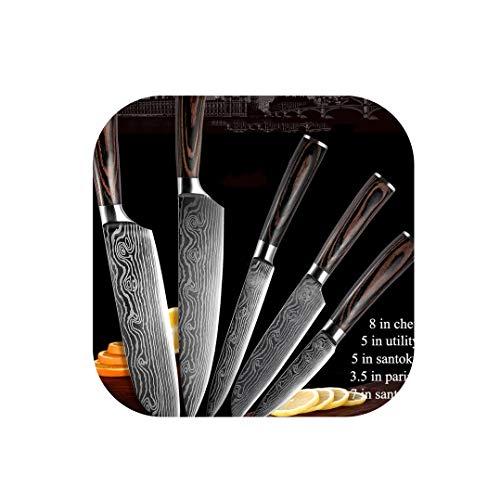 Juego de 5 cuchillos de cocina de acero inoxidable con hojas de damasco y láser, 5 piezas