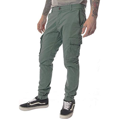 Franklin and Marshall Riley Pantalone Uomo con tasconi in Cotone Odd Army Green (33)