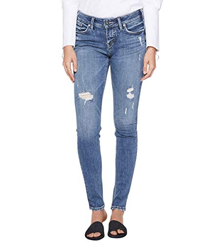 Silver Jeans Co. Women's Suki Curvy Fit Mid Rise Super Skinny Jean, Medium Indigo, 28W X 29L