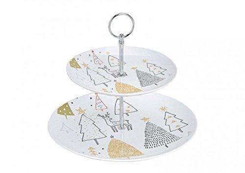 Etagere/Weihnachtsetagere mit Tannenbäumen in gold & silber - 2 stöckig - Material Porzellan - Weihnachten Weihnachtsdeko Weihnachtstisch