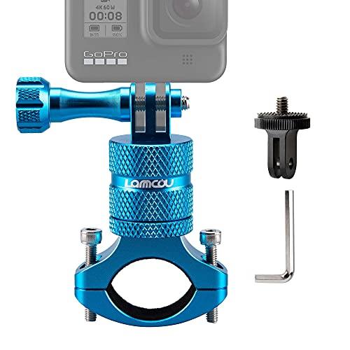 Lammcou Supporto per videocamera per bicicletta 2in1, supporto per bicicletta da manubrio per mountain bike per Hero 9 8 7 6 Session Hero + 4K Osmo Action Camera Bike Mount -Blu