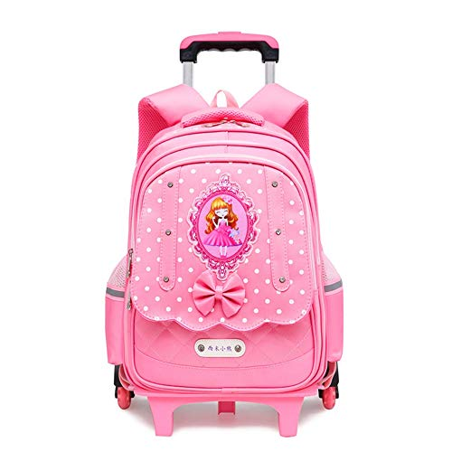 Multifunction Backpack for Kids Princess Style Backpack with 6 Wheels, Trolley Backpack for Girls, Detachable Waterproof Rolling Backpack Stair Clamber for Primary School Student Hiking Travel School