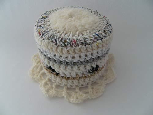 Storchenlädchen Klohut, weiß Töne Klohüte Klopapierhut Klopapierhüte Toilettenpapierhut Toilettenpapierhüte