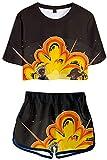 My Hero Academia 3D Prined Pajama Sets Anime Shoto Todoroki Hero 2 Piece Activewear Sets Boku no Hero Bakugou Casual Summer Short Sleeve Crop Camiseta y pantalones cortos Hero Pajama Sets 13 XS