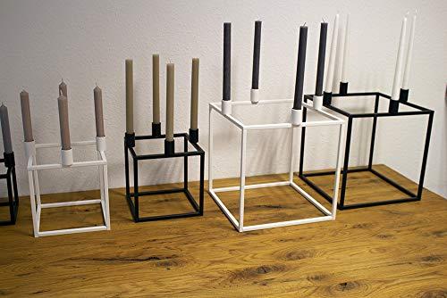 KTC Tec Kerzenständer Würfel Stahl 150x150mm schwarz matt Nordisch Design Quader Skandinavisch Weihnachten Dekoration Adventskranz 1 STK