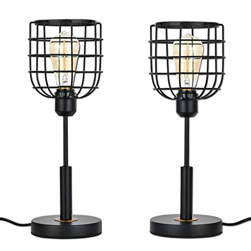 Falflor Industrial Table Lamp for Bedroom Set of 2 Rustic Nightstand Lamps Farmhouse Vintage Table Lamp for Shelf Guest Room(Black)