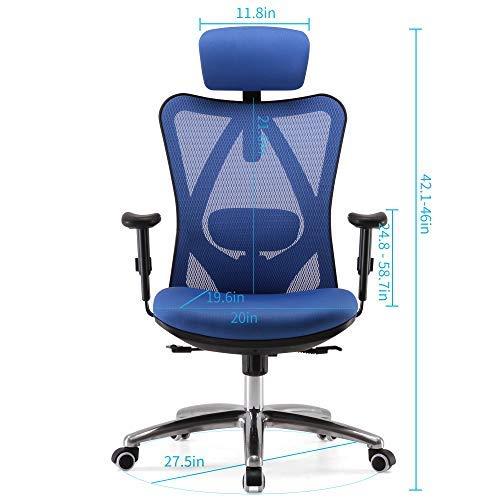 Sandy Chaise de bureau ergonomique pour ordinateur, appuie-tête réglable, dossier et accoudoirs,...