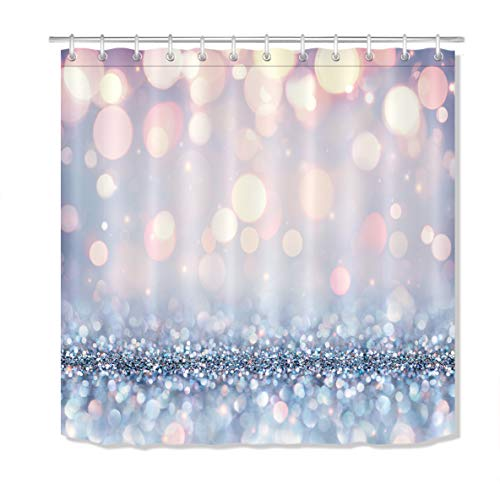 LB Stylish Simplicity Bling Theme Shower Curtain,Glitter Sequin Spot Fantasy Sparkling Bokeh Background Happy New Year Silver Unique Bathroom Curtain Waterproof Polyester Fabric with Hooks,70x70 Inch