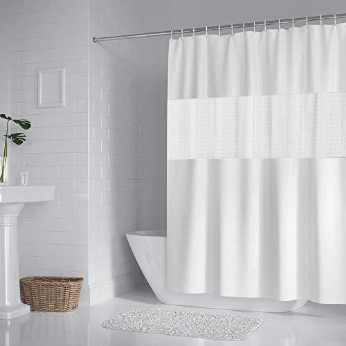 DUFU Duschvorhang Anti Schimmel Waschbar Bad Vorhang Textil aus Polyester und Eva für Badezimmer 200x180cm mit 12 Duschvorhangringen-Weiß