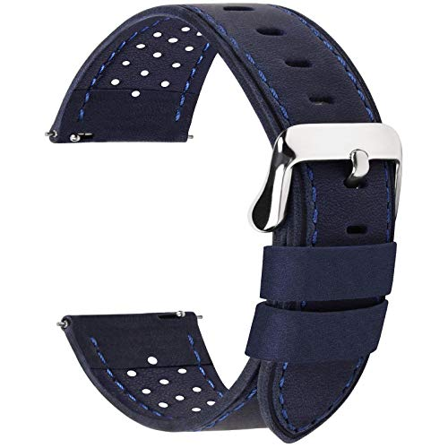 Fullmosa 5 Colors for Watch Band, Quick Release Breeze Leather Watch Strap 22mm 20mm 24mm 18mm,22mm Dark Blue