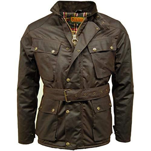 Game Herren Biker-Jacke / Motorrad-Jacke, Wachsjacke Gr. One size, braun