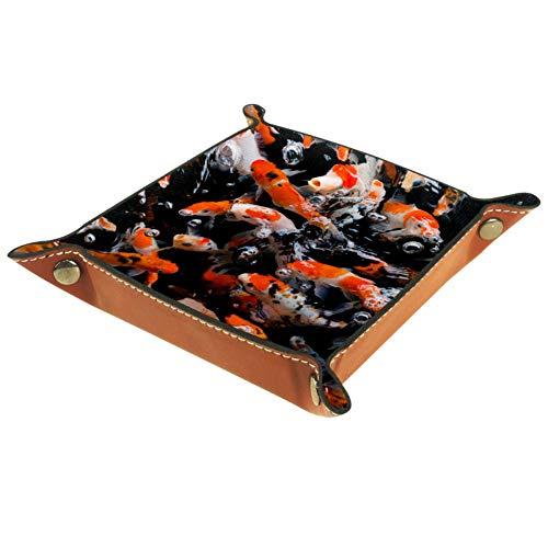 XiangHeFu Japanische ausgefallene Koi-Karpfenfische Valet Tray Ledertablett Leder Catchall Schlüssel Handy Münzkasten für Schlüsselgeld Nachttisch Storage Container Box Organizer