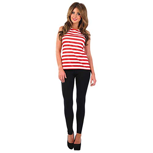 Fun Shack Womens Puzzle Book Character Kostuum Volwassenen Rood & Wit Gestreept Top Waar is Wally M Striped Vest Top