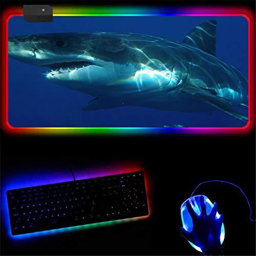 Zwyzspd Tappetini per Il Mouse da Gioco RGB Animal Shark Tappetino per Mouse di Grandi Dimensioni con Superficie Liscia Tastiera Resistente L/700Mmx300Mm