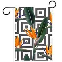 ホームガーデンフラッグ両面春夏庭屋外装飾 28x40inch,バード オブ パラダイス トロピカル フラワー
