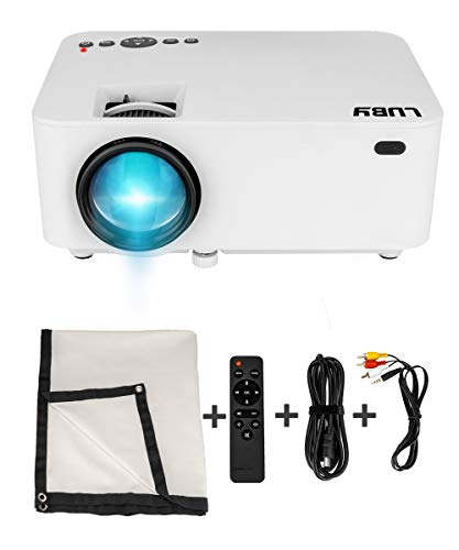 Luby Portable Mini Movie Projector with Free Projector Screen Perfect for Kids Fun Neighborhood Gathering Backyard Movie