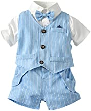 Toddler Boy Dress Clothes 3 Piece Vest Clothes Set, Baby Boys Bow Tie Outfit Clothes Suits, Little Boys Short Sleeve Button Down Shirt with Shorts Formal Dresswear, Blue, 2-3 Years=Tag 110